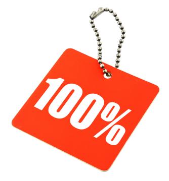 100 percent value tag